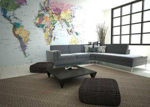 Фотообои Карта мира в офисе