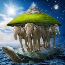 Фотообои - Слоны и черепаха