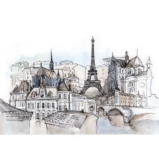 Фотообои - Париж акварелью
