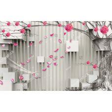 Фотообои - 3д кубы и цветы