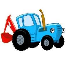 ЧБ Раскраски - Синий трактор