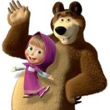 ЧБ Раскраски - Маша и медведь