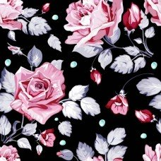 Фотообои - Розы на черном фоне - Узор