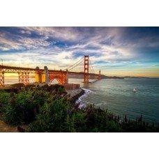 Фотообои - Обои мост, горы, природы, облака, море