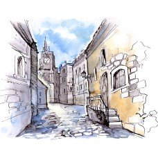 Фотообои - Иллюстрация - Рисованные улочки