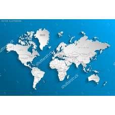 Фотообои - Карта мира в 3D