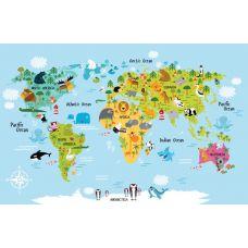 Фотообои - Карта мира с животными