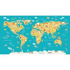 Фотообои - Детская карта мира на стену