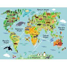 Фотообои - Карта мира для детей