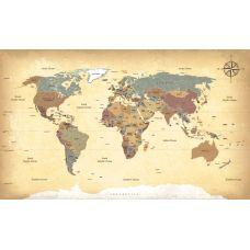 Фотообои - Винтажная карта мира на стену