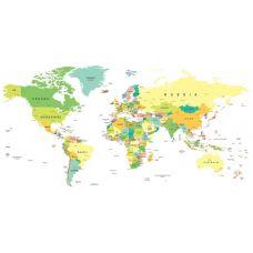 Фотообои - Цветная карта мира